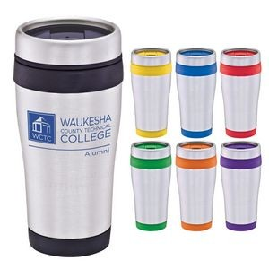 16 Oz. Stainless Steel Tumbler w/ Color Band