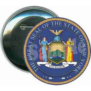 States - The Great Seal of New York - 3 Inch Round Button