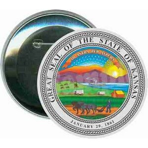 States - The Great Seal of Kansas - 3 Inch Round Button