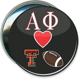 College - Alpa Phi loves Texas Tech Football, Black - 3 Inch Round Button